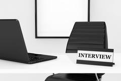 Gerente Workplace Concept da hora Placa e portátil da entrevista no Foto de Stock Royalty Free