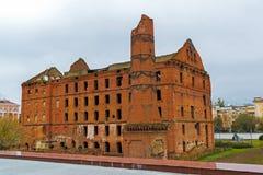 Gergardt mleje - budynek kontrpara młyn wczesny XX wiek, niszczący w bitwie Stalingrad podczas Drugi wojny światowa Volgograd, obrazy royalty free