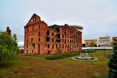 Gergardt mleje - budynek niszczącego w bitwie Stalingrad podczas Drugi wojny światowa Volgograd, Rosja zdjęcia stock