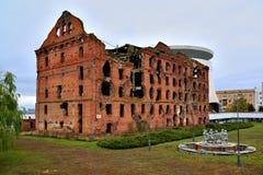 Gergardt mleje - budynek niszczącego w bitwie Stalingrad podczas Drugi wojny światowa Volgograd, Rosja zdjęcie royalty free