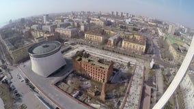 Gergartmolen in Volgograd, Rusland Lucht Mening stock videobeelden