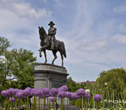 The Gerge Washington statue in Boston public garde. A spring picture of the George Washington statue in Boston Public Garden Royalty Free Stock Photo