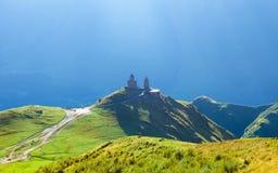 Gergeti christian church near Kazbegi in Georgia, Caucasus Royalty Free Stock Photography