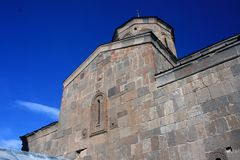Gergeti church. Cminda Sameba. Kazbegi, Stepantsminda. Gergeti church. Cminda Sameba. Kazbegi Stepantsminda Georgia Royalty Free Stock Images