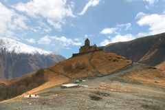 Gergeti trinity church at an elevation of 2170 meters, under Mount Kazbegi in Georgia Royalty Free Stock Photography