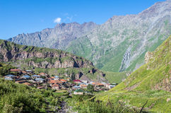 Gergeti village in Georgia Stock Photo