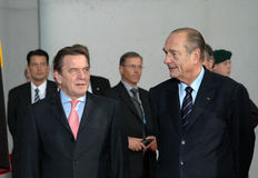 Gerhard Schroder, French president Jacques Chirac Royalty Free Stock Photos