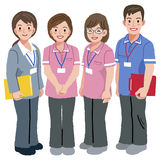 Geriatric care manager and social workers. Full length portraits of geriatric care manager and three social workers  in white background Royalty Free Stock Images