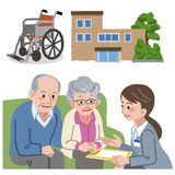 Geriatric care manager and social workers. Full length portraits of geriatric care manager and three social workers  in white background Stock Image