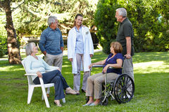 Geriatric nurse with senior group Royalty Free Stock Photos
