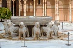 Gericht der Löwen, Alhambra, Granada Stockbilder