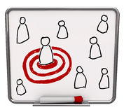 Gerichtete Person - trocknen Sie Löschen-Vorstand mit roter Markierung Lizenzfreies Stockfoto