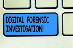 Gerichtliche Untersuchung Handschriftstext Digital Konzeptbedeutungswiederaufnahme von Informationen von Computer Taste Absicht z lizenzfreie abbildung