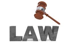Gerichtshammer und Gesetzeszeichen Lizenzfreies Stockbild