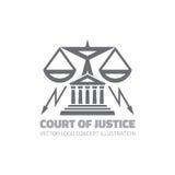 Gerichtshof - vector Logokonzeptillustration in der klassischen grafischen Linie Art Gesetzeslogoikone Legale Logoikone Stuft Log Stockbild