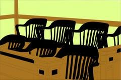 Gerichtssaal-Jury-Aufgabe-Sitzbereich mit Stühlen Lizenzfreie Stockfotografie