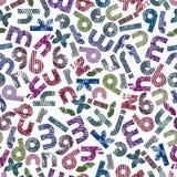 Geriebenes buntes nahtloses Muster, mutige gestreifte Kleinbuchstaben Stockbild