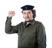Gerillasoldat med basker- och kommuniststjärnan Royaltyfri Foto