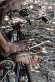 Gerimpelde en vuile voet oudere mensen Stock Afbeelding