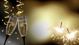 Gerinkelglazen - Nieuwjaar` s Vooravond/viering stock foto's