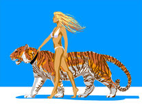 Gerl_with_tiger Royalty Free Stock Photography