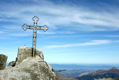 Gerlach Peak. The cross at the top of Gerlach Peak in the High Tatras, Slovakia. Gerlach Peak (2655 m) is the highest mountain in Slovakia, in the High Tatras Stock Photo