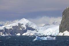 Gerlache Strait, Antarctica. Darkening sky apporaches over the Gerlache Strait, Antarctica stock photos
