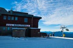 Gerlitzen ski resort main gondola station with surrounding landscape in Austrian alps. Austria Royalty Free Stock Photography