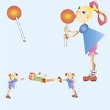 Gerls et garçon partagent la sucrerie Illustration Stock