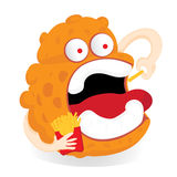 Germ monster Cartoon eating french fries. Stock Photography