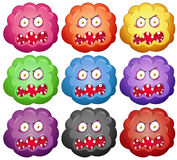 Germ with monster faces Royalty Free Stock Image