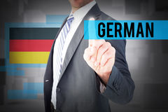 German against abstract white room Stock Images