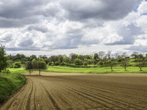 German agriculture fields. Sun and clouds Stock Image