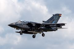 German Air Force Luftwaffe Panavia Tornado ECR Electric Combat / Reconnaissance aircraft. RAF Fairford, Gloucestershire, UK - July 9, 2014: German Air Force stock photos