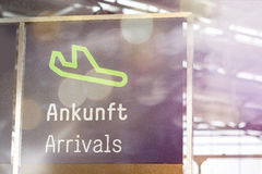 German airport arrivals sign Stock Image