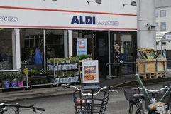 GERMAN  ALDI FOOD CHAIN OPENS ON MAUNDY THURSDAY Stock Photo