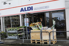 GERMAN  ALDI FOOD CHAIN OPENS ON MAUNDY THURSDAY Royalty Free Stock Photo
