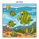 German alphabet, letter F (fish family and background). German alphabet, vector illustration (letter F). Color image (fish family and background Royalty Free Stock Images