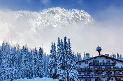 German Alpine Building Snow Mountain Snoqualme Pass Washington Stock Image