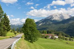 German Alpine road near Bavarian Berchtesgaden Royalty Free Stock Image