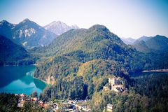 German Alps in Bavaria and the Hohenschwangau Castle stock photo