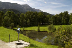 German Alps Forest Viewing Spot. Forest observation point with small pond near Linderhof castle. Germany, Bavaria Stock Photos