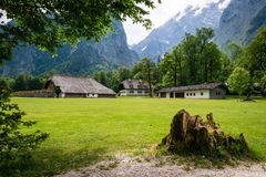 German Alps in Koningssee. Rural landscape. Beautiful green Koningssee in german Alps. Mountain landscape, national park in Germany royalty free stock photography