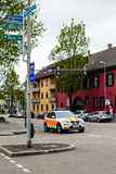 German Ambulance arriving fast at accident place in German city Stock Images