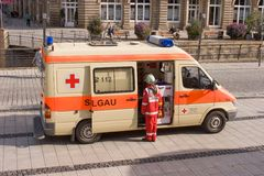 German ambulance car - Bavarian red cross Royalty Free Stock Photo