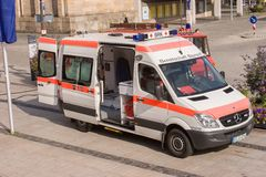 German ambulance car - Bavarian red cross Stock Image