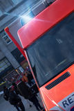 German ambulance car with flashing warning lights Stock Photos