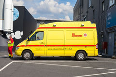 German ambulance car from Johaniter stands on a building Royalty Free Stock Images