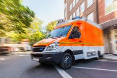 German ambulance car stands on parking lot Royalty Free Stock Images