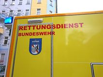 German ambulance service. Berlin, Germany - October 30, 2018: Ambulance service first aid. 112 is the single European emergency number that can be dialed free of stock photography